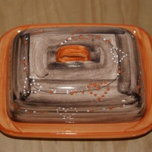 beurrier poterie vallauris arc en ciel orange